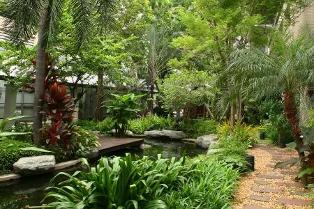 villas: garden  Stock Photo