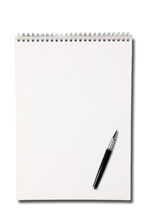 note pad and pen: Blank one face white paper notebook vertical  Stock Photo
