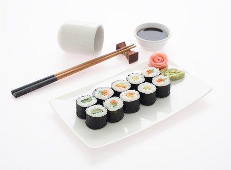 sushi plate: Sushi plate with maki sushi