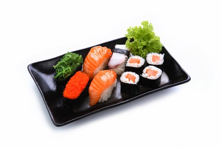 sushi plate: sushi isolated on a white background
