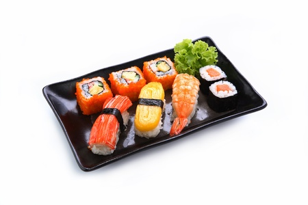 sushi plate: sushi isolated on a white background