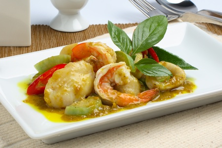 Thai Food Green Curry with Shrimp