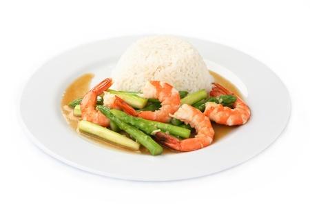 Thai Food, Stir-fried Shrimp and Asparagus with Rice Stok Fotoğraf