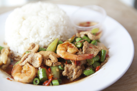 Spicy basil shrimp and pork Fried with rice, Thai food  photo
