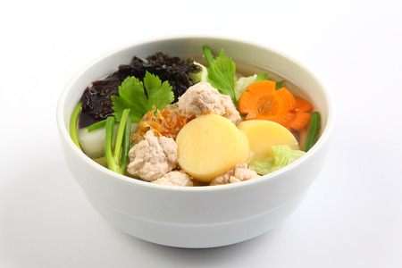vermicelli: Clear Soup with Vegetables and Meatballs, Thai food Stock Photo