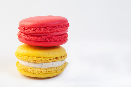 Colorful macaroon stack isolated on white background photo