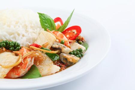 thai pepper: Steamed Rice with Spicy Fried stir Sea food Thai Food