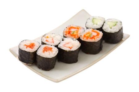 白い背景の上の寿司ロール 写真素材