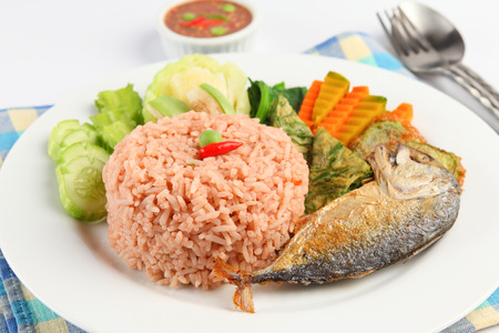 fried: fried mackerel with shrimp paste sauce nam prik kapi pla too