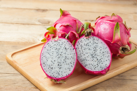 Dragon fruit on wooden background