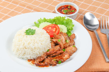 pork: rice with roast pork, Thai Food