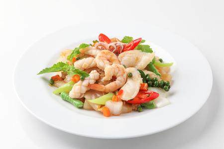 Fried Noodle with Mixed Seafood with Vegetable in soybean Sauce Stock Photo