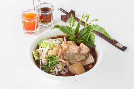 thai noodle soup: Thai chicken noodle soup on white background