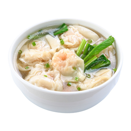 Shrimps Wonton Soup isolated on white background 版權商用圖片