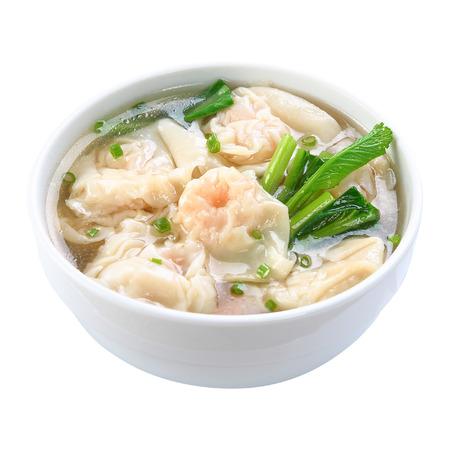 seafood soup: Shrimps Wonton Soup isolated on white background Stock Photo