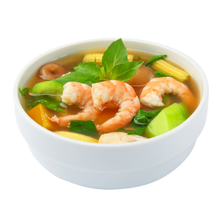 vegetable soup: Thai Spicy Mixed Vegetable Soup with shrimp Kang Liang Goong Sod Stock Photo