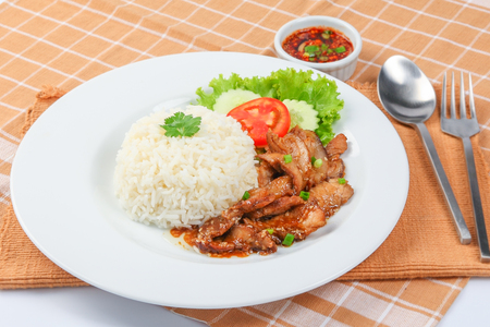 rice with roast pork, Thai Food