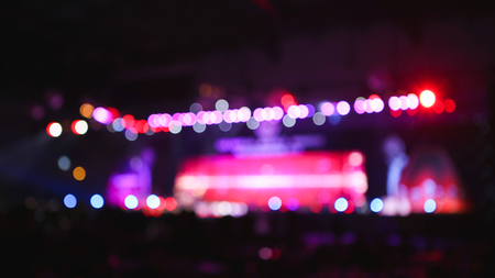 Blurred background : Bokeh lighting in concert. Stock Photo