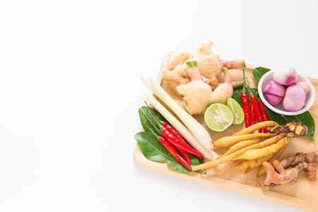 Thai herb ingredient, spicy food on white background with copyspace