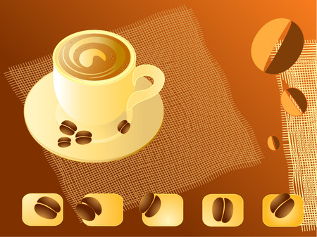 illustration of a cup of coffee and cereal coffee napkins Vector
