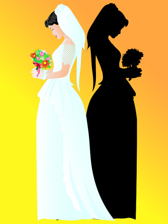 modest: Illustration of a modest bride with a bouquet