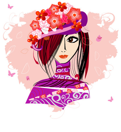 girl in a floral hat Vector