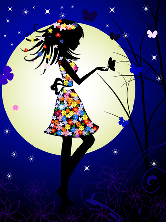 girl and the moon Vector