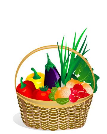 mimbre: verduras en la cesta de la Vectores