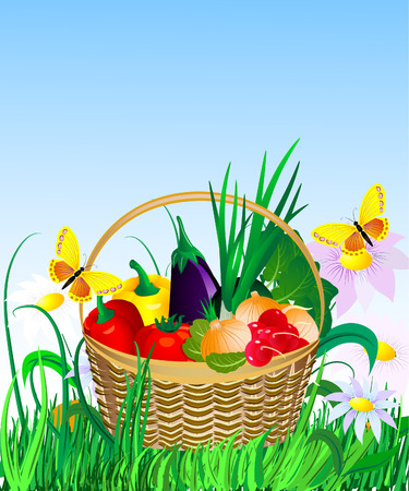 vegetables in a basket on the lawn Vector