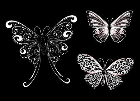 mariposa de encaje blanco