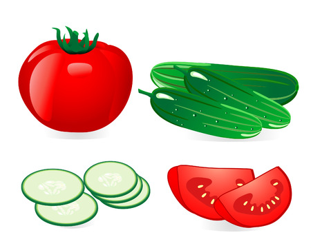 cucumber and tomato Stock Vector - 6513995