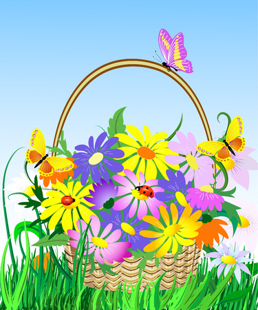 flowers in the basket Vector