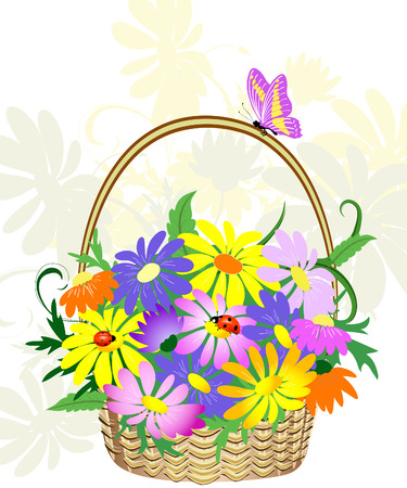 flowers in the basket Stock Vector - 6513997
