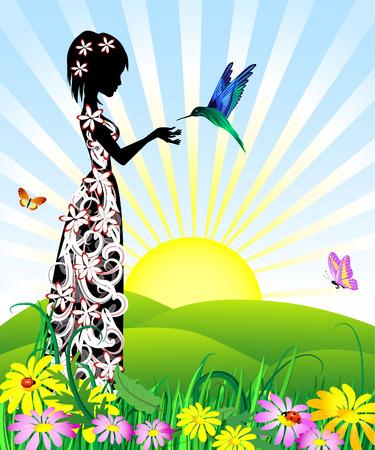 femme papillon: girl en fleurs