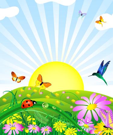 horizon over land: floral lawn Illustration