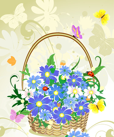 butterfly ladybird: flowers basket