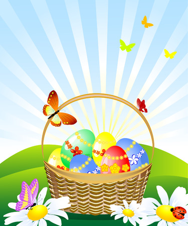 basket of Easter eggs in the meadow Stock Vector - 6575801