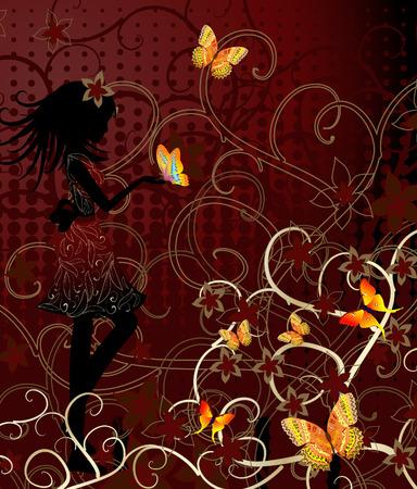 girl with butterflies Stock Vector - 6575811