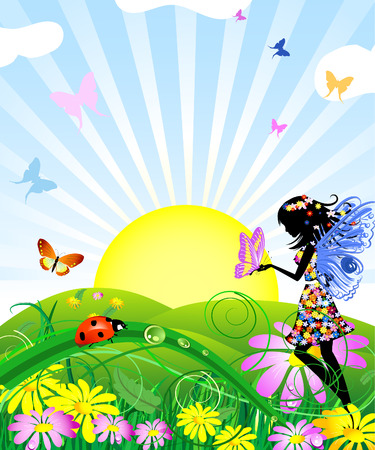 flower fairy with butterflies in the meadow Vector