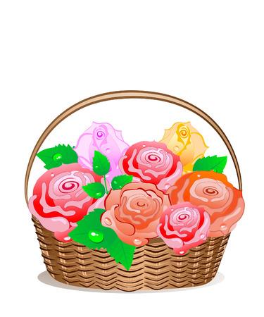 Rose Basket Vector