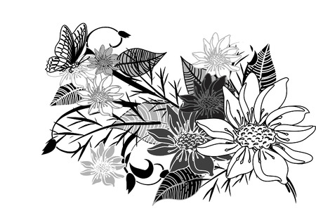 Bouquet of flowers with a butterfly Vector