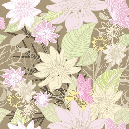 japanese pattern illustration: seamless floral background soft