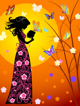 young girls nature: girl and butterfly Illustration