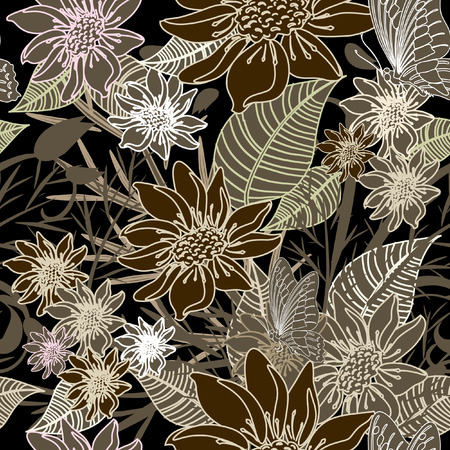 dessin au trait: arri�re-plan floral transparente