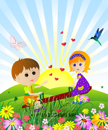 play school: children on the meadow
