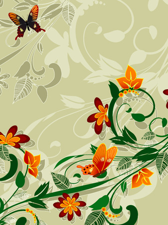 abstract floral design with butterflies Vector