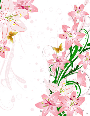 red butterfly: frame of a bouquet of pink lilies