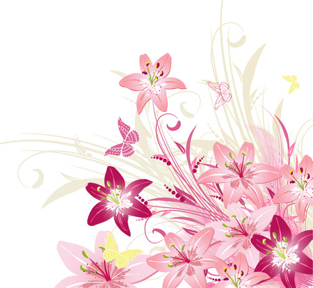 red butterfly: bouquet of pink lilies Illustration