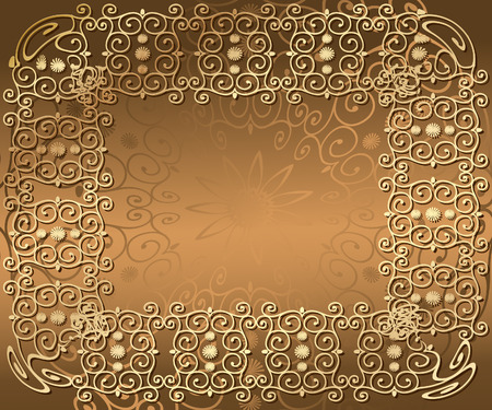 golden frame of arabesques Vector
