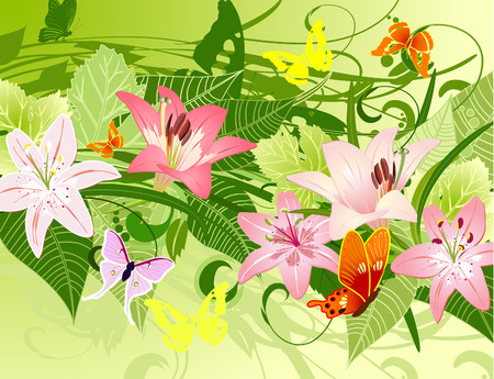 summer pattern with lilies Vector